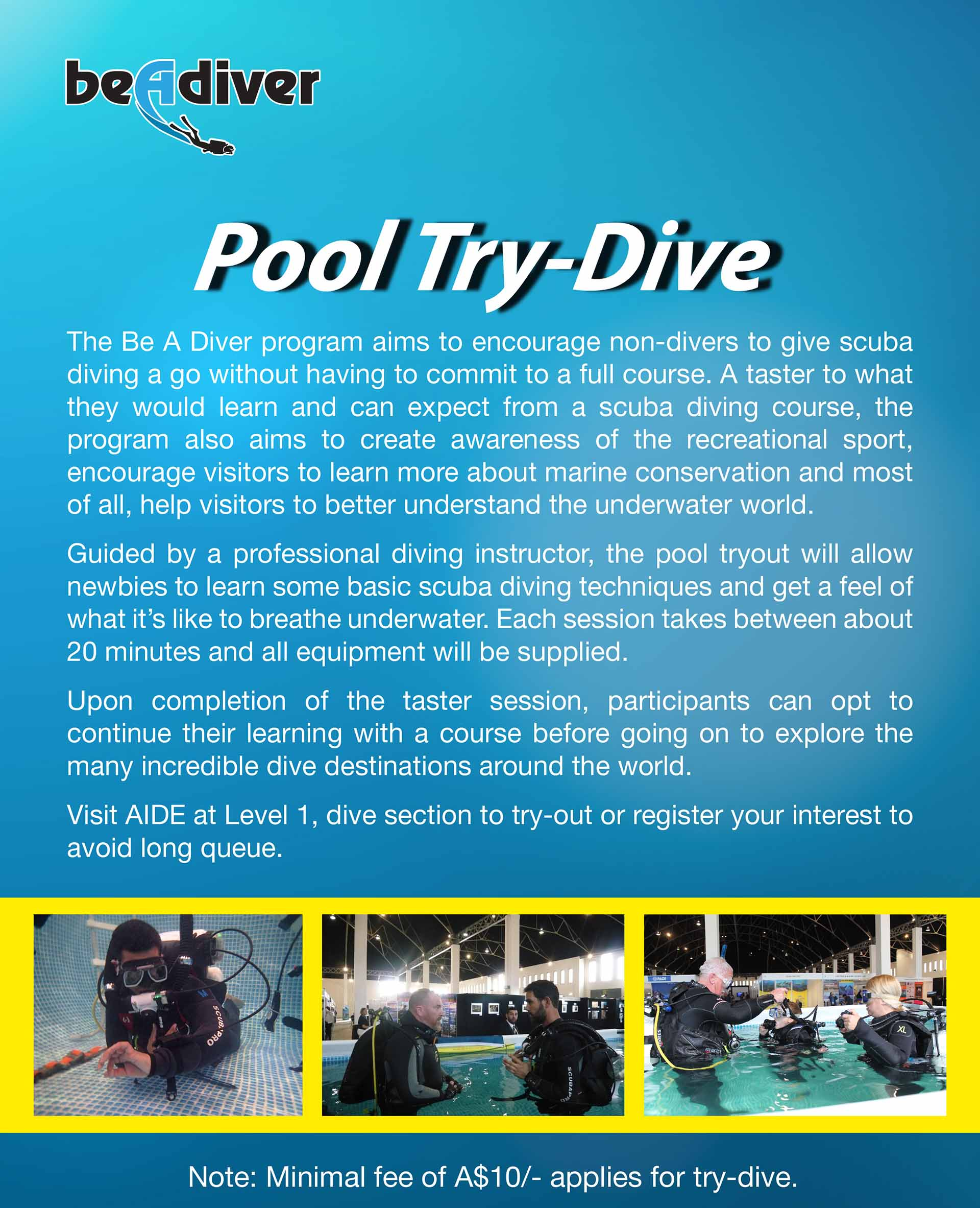 Pool try dive 2018 australia dive expo 2017 for Pool expo show
